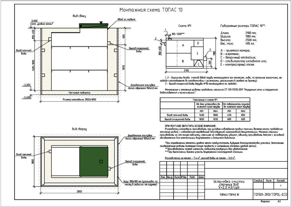 Схема монтажа септика топас10